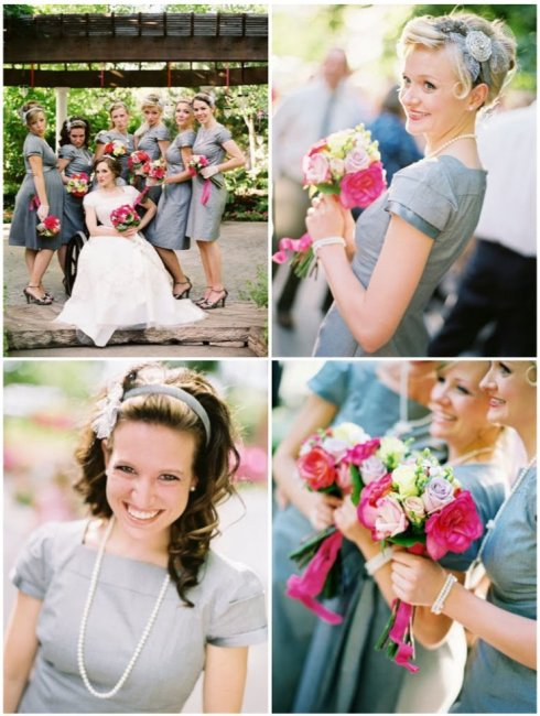 bridesmaids-in-gray-with-vintage-headbands
